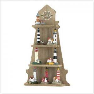 Lighthouse Shelf with 8 LIghthouses