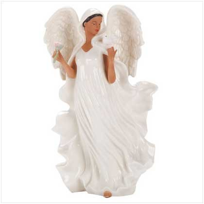 Porcelain Angel Holding a Dove
