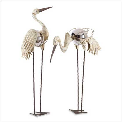Gazing Ball Cranes Garden Stakes Set of 2