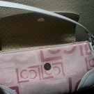 LIZ CLAIBORNE PURSE PINK & WHITE FABRIC W LEATHER ACCENTS BRAND NEW W TAGS