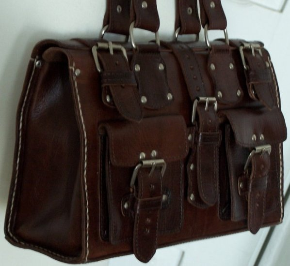 DARK BROWN/MAHOGANY MOROCCAN GENUINE LEATHER HANDBAG BAG