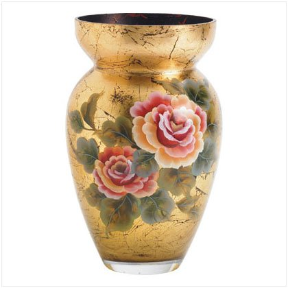 Roses Leaves Gold Glass Vase