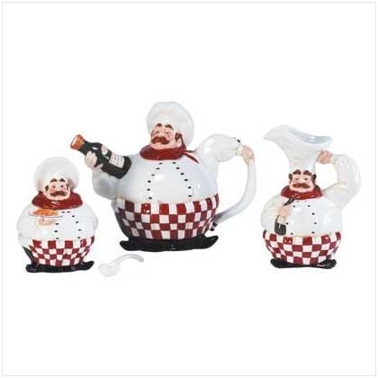 Chef Teapot Creamer/Sugar Set