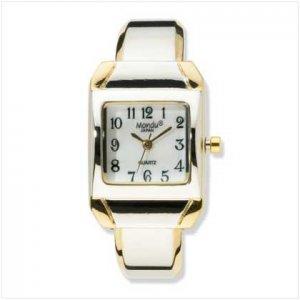 2tone Plate Cuff Bracelet Watch