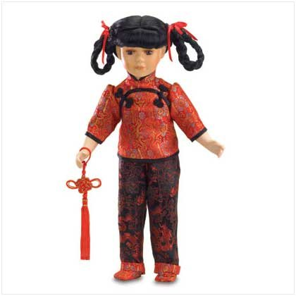 16 inch Chinese Doll in Red Shirt