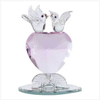 GLASS LOVEBIRDS CRYSTAL HEART