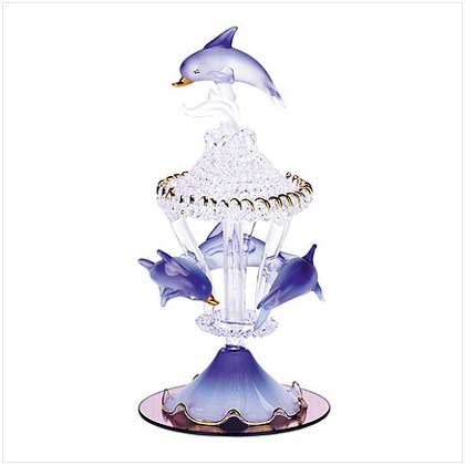 COLOR GLASS CAROUSEL DOLPHINS