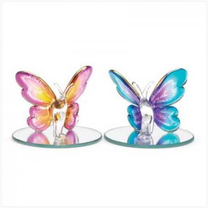 Set 2 Small Glass Butterflies