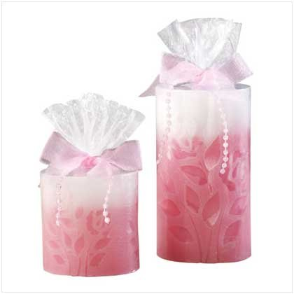 1 PAIR. OF ROSE EMBOSSED CANDLES