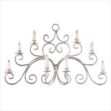 WROUGHT IRON WALL CANDLE SCRONE