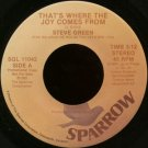 "STEVE GREEN--""""THAT'S WHERE THE JOY COMES FROM"""" (3:12) (BOTH SIDES STEREO) 45 RPM 7"""" Vinyl"