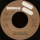 "NANCY HONEYTREE--""""TELL ME WHAT LOVE IS"""" (3:58) (BOTH SIDES STEREO) 45 RPM 7"""" Vinyl"