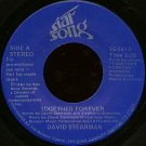 "DAVID STEARMAN--""""TOGETHER FOREVER"""" (3:26) (BOTH SIDES STEREO) 45 RPM 7"""" Vinyl"