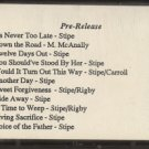 TOM STIPE--NEVER TOO LATE PRE-RELEASE Cassette Tape