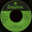 "WALL BROTHERS--""""OPEN UP"""" (3:21)/""""WHAT'S YOUR HOPE IN"""" (3:37) 45 RPM 7"""" Vinyl"