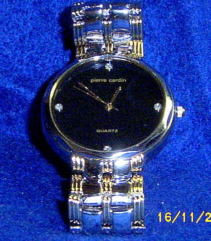 PIERRE CARDIN MENS BLACK FACE DIAMOND DRESS WATCH