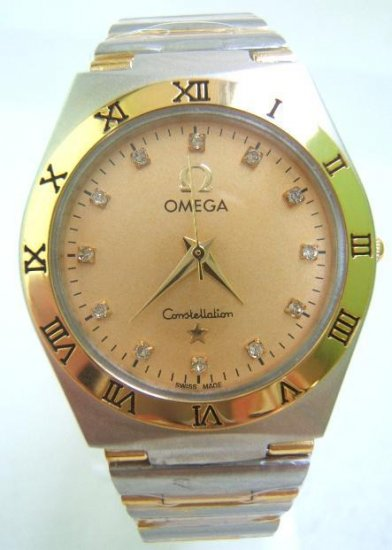 OMEGA Silver/ Gold DIAMOND luxury GENTS WATCH