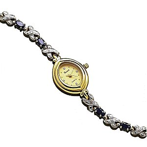 Genuine Sapphire and CZ Bracelet Watch