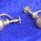 PEARL SCREW TYPE EARINGS-STERLING SILVER