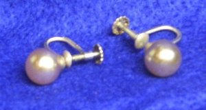 PEARL SCREW TYPE EARINGS-STERLING SILVER