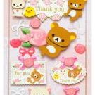 "San-X Rilakkuma ""Thank You"" 3-D Sticker - Roses"