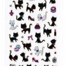 Micro Sticker &quot;Black & White Kitties&quot; with Gold Accent
