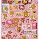 "San-X Rilakkuma ""Relax in the Forest"" Sticker with Gold Accent - Pink"