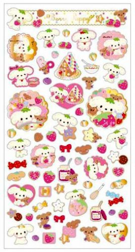 """San-X Berry Puppy """"Strawberry"""" Series Sticker with Gold Accent - #1"""