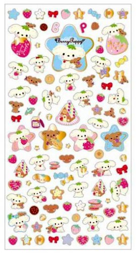 """San-X Berry Puppy """"Strawberry"""" Series Sticker with Gold Accent - #2"""