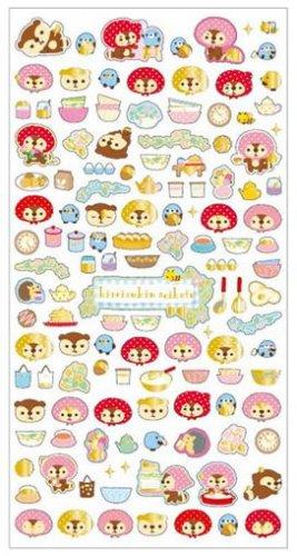 """San-X Kireizukin Seikatu """"Pink Hood"""" Series Sticker with Gold Accent - #1"""