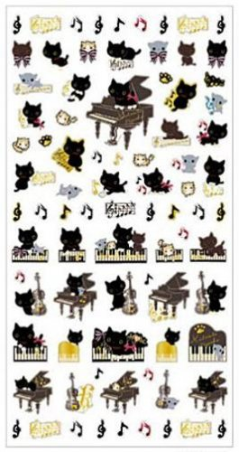 San-X Kutusita Nyanko Romantic Music Series Sticker with Gold Accent - #602