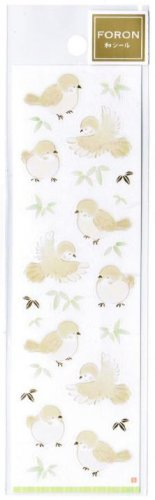 """Foron Japan Washi Sticker with Gold Accent - """"Birds"""""""