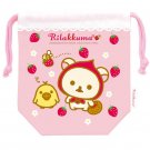 "San-X Rilakkuma ""Strawberry"" Series Small Drawstring Bag"