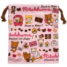 "San-X Rilakkuma ""Chocolate & Coffee"" Series Pink Drawstring Bag"