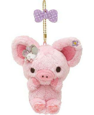San-X Piggy Girl Hanging Plush with Safety Pin