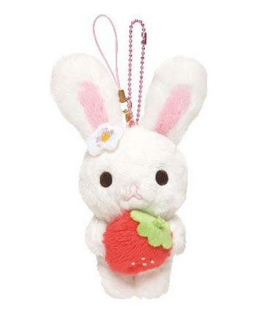 San-X Piggy Girl Sweet Strawberry Cell Phone Strap - Rabbit