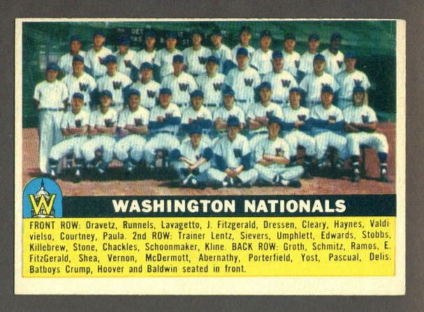 1956 Topps baseball set # 146 Washington Nationals team card