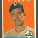 1958 Topps baseball set # 382 Al Cicotte New York Yankees