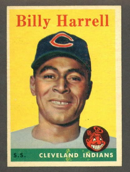 1958 Topps baseball set # 443 Billy Harrell SP Cleveland Indians