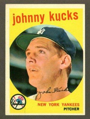 1959 Topps baseball set # 289 Johnny Kucks New York Yankees