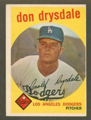 1959 Topps baseball set # 387 Don Drysdale HOF Los Angeles Dodgers