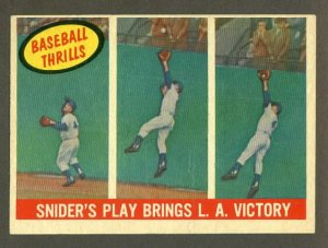 1959 Topps baseball set # 468 Snider's play brings L.A. victory