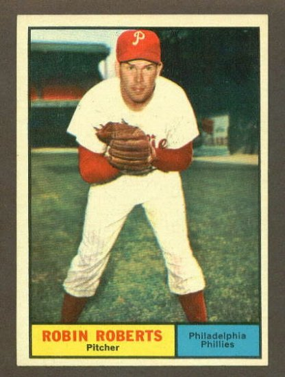 1961 Topps baseball set # 20 Robin Roberts HOF Philadelphia Phillies