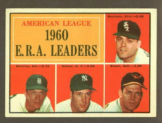 1961 Topps baseball set # 46 A.L. E.R.A. Leaders with Jim Bunning