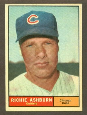 1961 Topps baseball set # 88 Richie Ashburn HOF Chicago Cubs