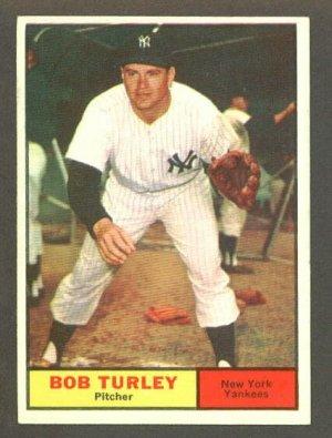 1961 Topps baseball set # 40 Bob Turley New York Yankees