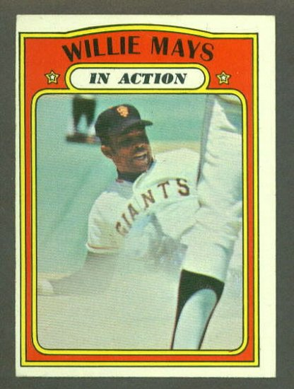 1972 Topps baseball set # 50 Willie Mays In Action HOF San Francisco Giants