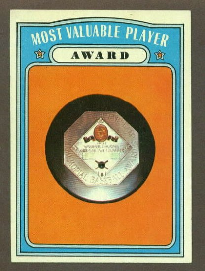 1972 Topps baseball set # 622 Most Valuable Player Award