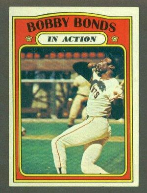 1972 Topps baseball set # 712 Bobby Bonds In Action San Francisco Giants