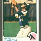 1973 Topps baseball set # 100 Hank Aaron HOF Atlanta Braves